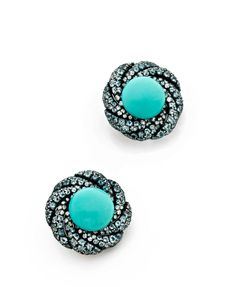 A PAIR OF TURQUOISE, AQUAMARINE, DIAMOND, SILVER AND 18K GOLD EAR CLIPS