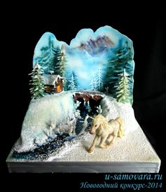 Winter cake with a backdrop How To Make A Unicorn Cake, Diy Unicorn Cake, Unicorn Cake Topper, Beautiful Cakes, Amazing Cakes, Christmas Cake Designs, Realistic Cakes, Carousel Cake, Jungle Cake