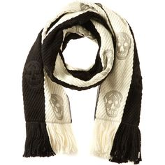 Alexander Mcqueen Wool & Silk-Blend Skull Scarf ($380) ❤ liked on Polyvore featuring accessories, scarves, nocolor, black and white scarves, skull print scarves, oblong scarves, fringe shawl and alexander mcqueen shawl
