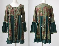 Cotton patchwork Single breasted doll long shirt dress by MaLieb, $63.00