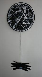 footprint art, art crafts, spiders, spider webs, halloween crafts, marbl paint, charlottes web, itsy bitsy spider, halloween activities