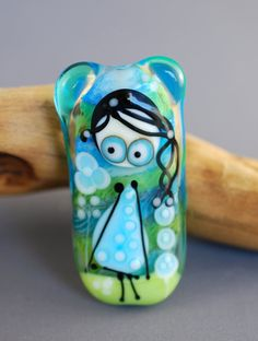 LITTLE MISS glass focal bead blue green by jperaladesigns on Etsy $40.00<3<3<3
