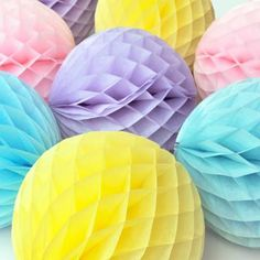 Tissue Paper Ball Honeycomb Party Decoration by Peach Blossom, the perfect gift for Explore more unique gifts in our curated marketplace. Tissue Paper Ball, Paper Balls, Tissue Balls, Soft Colors, Pastel Colors, Rainbow Colors, Soft Pastels, Pastel Decor, Ball Decorations