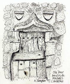 Old Door, L'Ardeche. Pen drawing 1997