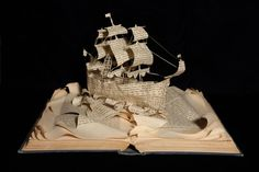 A Ship Sets Sail Book Sculpture by Emma Taylor From Within a Book... #bookart #booksculpture #paperart