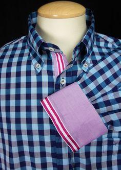 PAUL & SHARK Mens Sport Shirt 46 XL Extra Large Blue Check Long Sleeve #PaulShark #ButtonFront
