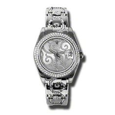 Rolex Watches - Datejust Special Edition White Gold Masterpiece 116 Dia Bezel - Style No: 81339 arabesque Buy Rolex, Breitling Watches, Oyster Perpetual Datejust, Swiss Army Watches, Rolex Datejust, Diamond Design, Beautiful Watches, Elegant, Watches For Men