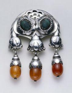 Georg Jensen silver & amber brooch