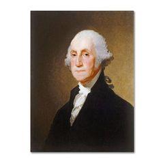 "Trademark Art 'George Washington 1821' by Gilbert Stuart Painting Print on Canvas Size: 24"" H x 18"" W x 2"" D"