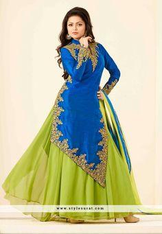 Stylish Blue Color Lehenga Style Bhagalpuri Silk Salwar Suit