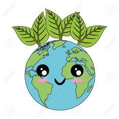 Planeta de tierra kawaii con icono de hojas sobre fondo blanco ilustración de vector de diseño colorido Foto de archivo - 82562356 Save Earth Drawing, Drawing For Kids, Art For Kids, Planet Drawing, Earth Drawings, Save Environment, World Environment Day, Belle Image Nature, Wallpaper Quotes