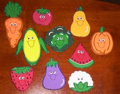 10 Fruit and Veggie Friends Set of 10 magnets  Size : Ranges from 2x2 to 5x 3 1/2