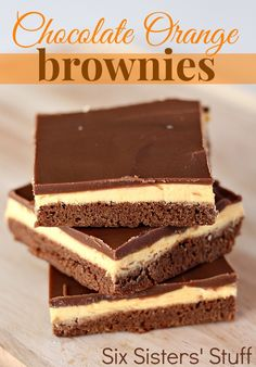 Chocolate Orange Brownies from SixSistersStuff.com. Seriously melt in your mouth! #brownies #dessert Cake Bars, Dessert Bars, Mini Tarte, Just Desserts, Delicious Desserts, Brownie Frosting, Cookie Brownie Bars, Blondie Brownies, Cake Brownies