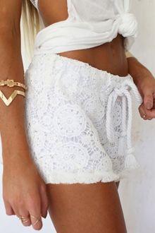 White Lace Elastic Waist Drawstring Shorts
