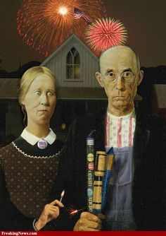 Independence Day July 4 version of American Gothic famous painting. American Gothic Painting, American Gothic House, Grant Wood American Gothic, American Gothic Parody, American Art, Art Grants, Mona Lisa, Famous Artwork, Art Institute Of Chicago