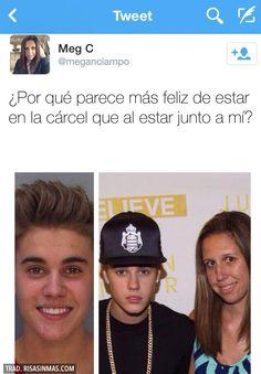 Justin Bieber feliz en la cárcel.