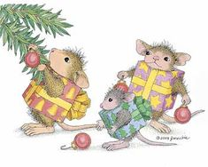 """Mudpie, Amanda and Monica featured on The Daily Squeek® for December 16th, 2014. Click on the image to see it on a bunch of really """"Mice"""" products."""