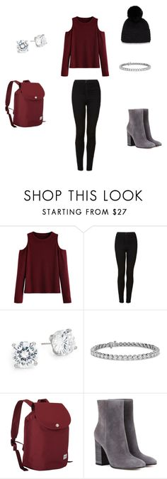 """""""Walking around New York"""" by jen-top ❤ liked on Polyvore featuring WithChic, Topshop, Saks Fifth Avenue, Blue Nile, Herschel Supply Co., Gianvito Rossi and Surell"""
