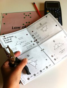 """Neat way to add some variety to a trig class - Law of Sines & Law of Cosines - The kids punch holes through each answer while the page is folded, then when they unfold it and lay the paper over one of the """"check pages,"""" they can see any mistakes showing through!  This spices up Trigonometry / Pre-Calc practice time just a bit!"""