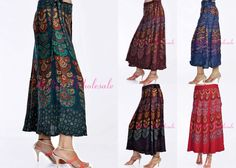 Lot Of 20 Indian Mandola Rayon Long Wrap Around Skirt Maxi For Top Tunic Wrap Around Skirt, Harem Pants, Tunic Tops, Indian, Traditional, Skirts, Handmade, Fashion, Moda