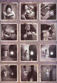 The Arrival by Shaun Tan Shaun Tan, Grafic Novel, Wordless Picture Books, Graphite Art, Picture Layouts, Disney Concept Art, Digital Painting Tutorials, Children's Book Illustration, Art Illustrations