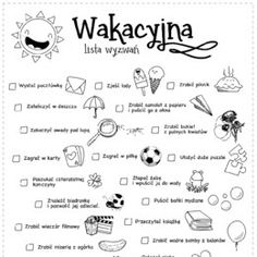Wakacyjna lista wyzwań - Printoteka.pl David Caruso, School Worksheets, Bujo, Infographic, Challenges, Bullet Journal, How To Plan, Education, Therapy