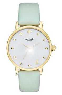 "Kate Spade New York ""metro-monogram"" leather strap watch, 34mm"