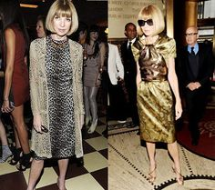 fashion for women after 60 -- Collage of Anna Wintour looks