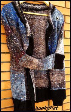 knitted cardigan by hookyhat black blue gray https://www.facebook.com/hookyhat/