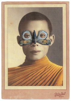 Lynn Skordal Follow The Monk (Butterfly Mask)  Cut & paste collage (paper on paper).