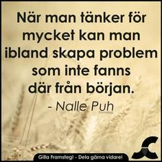 When you think too much, you can sometimes create problems that weren't there to begin with. Silly Quotes, True Quotes, Words Quotes, Wise Words, Best Quotes, Sayings, Swedish Quotes, Proverbs Quotes, Quotes About Everything