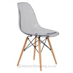 With a trendy translucent seat, the Eames Style Wooden Chair Smoked delivers the 'less is more' look.
