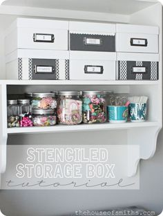 The House of Smiths - DIY stenciled storage boxes (a clever way to dress up plain boxes, like the ones I have from IKEA!)