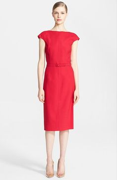 Free shipping and returns on Oscar de la Renta Ruffle Back Pencil Dress at Nordstrom.com. Vivacious color emboldens a timeless cap-sleeve and belted pencil dress designed with quilted side panels underscoring the precisely tailored fit. For an updated take on breathtaking refinement, the bateau neckline descends into a deeply scooped back framed by elegantly undulating ruffles.