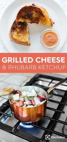 Salty, sharp cheddar cheese is melted between two pieces of golden brown bread before it's dipped into this tart & tangy rhubarb ketchup. Try the recipe from @ashrod  of Not Without Salt.