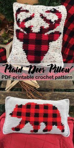 Crochet Afghan Plaid Plaid Crochet Patterns – Create Trendy Plaid - A More Crafty Life Crochet Vintage, Plaid Crochet, Crochet Bear, Crochet Home, Crochet Gifts, Cute Crochet, Crochet Things, Crochet Pillow Pattern, Crochet Motifs