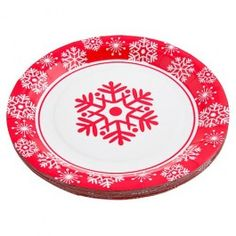A 20 pack of paper plates with our red snowflake design.. Part of the Red Snowflake dining set 23 x 23 cm