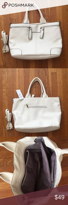 "Off-white bag Large, off-white tote with removable shoulder strap. Fully lined with multiple pockets. Size: 18""x11""x6"". Brand new with tags. Faux leather. Bags Totes"
