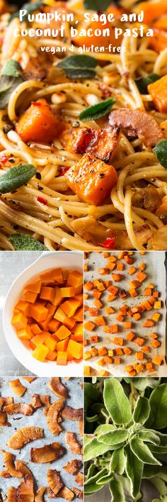 This vegan pumpkin pasta with sage and coconut bacon is nourishing, filling and delicious. It's a perfect vegan and gluten-free (if needed) winter dinner. Vegan Meal Prep, Vegan Dinner Recipes, Delicious Vegan Recipes, Vegan Dinners, Vegetarian Lunch, Pasta Recipes, Vegetarian Recipes, Healthy Recipes, Recipe Pasta