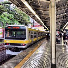 Sobu line train at Ichigaya Station