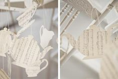 tableware paper cutouts from vintage sheet music - #decoration hanging from ceiling of Kitchen at Weylandts in Durbanville, South Africa http://www.weylandts.co.za/  #paper_crafting  #displays