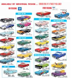 30 styles of GM & Chevrolet 1950's & 1960's classic car food boxes. All styles are $1.49 each. Mix n Match. Buy 1, Buy 1,001, one at a time. Great for food containers, centerpieces, or even a small plant or flowers, you can also buy the plastic inserts for 30¢ each if using food or a plant.