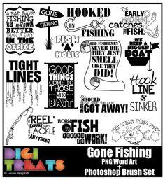 50% OFFGone Fishing Word Art Scrapbooking Card by DigiTreats
