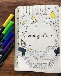 Space cover page for August by @bulletjournal.lovers Stargazing is a fun activity for summer, and this cover page idea perfectly reflects a unique galaxy theme you can use for August (or any other month!).