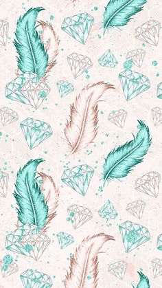 Feather with diamonds (water color wallpaper)