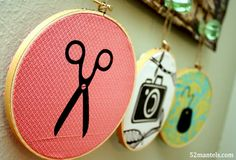 Iron-on vinyl plus fabric scraps, plus small embroidery hoops...equals something awesome! Found @52mantels