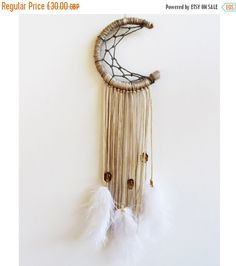 "ON SALE 20% OFF Moon Dream Catcher, Bohemian, 3"", Wall Decor, Car Mirror, Feathers, Beads, Lace, Boho, Gypsy Chic, Room Decor, Wall Hanging"
