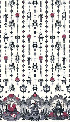 angelic pretty: ghost night bride (lavender) by Gaarumageddon on DeviantArt Witch Wallpaper, Pattern Wallpaper, Iphone Wallpaper, Textile Prints, Art Prints, Satanic Art, Angelic Pretty, Flash Art, Botanical Flowers