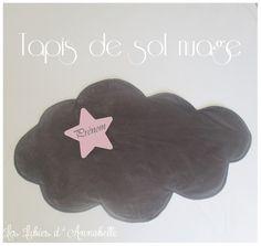 Tapis de sol, descente de lit forme nuage tissu velours gris et broderie étoile PERSONNALISABLE