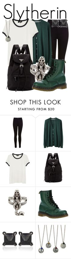 """""""Slytherin from Harry Potter // Back to School Style"""" by ginger-coloured ❤ liked on Polyvore featuring Miss Selfridge, Tsumori Chisato, A.P.C., Prada, Dr. Martens, Eva Fehren, women's clothing, women, female and woman"""